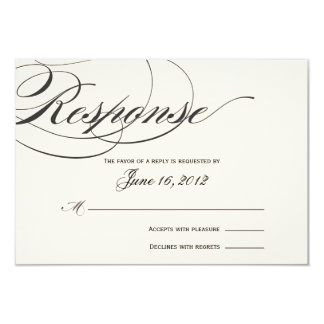 Elegant Script Response Card - Black/Off White