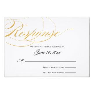 Elegant Script Response Card - Gold & Black