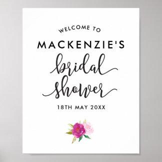 Elegant Script Roses Bridal Shower Welcome Poster