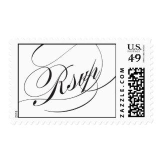 Elegant Script Rsvp Postage Stamp - Black