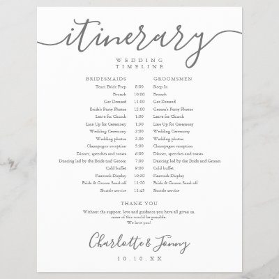 Elegant Script Schedule Wedding Itinerary Timeline