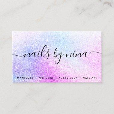 Elegant script signature holographic pink glitter business card