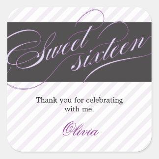 Elegant Script Sweet Sixteen Party Favor Sticker