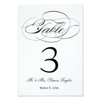 Elegant Script Table Number - Black Announcements