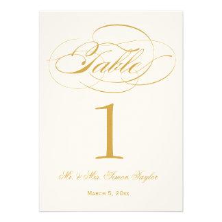 Elegant Script Table Number - Gold Custom Invites