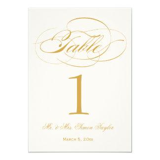 "Elegant Script Table Number - Gold 5"" X 7"" Invitation Card"