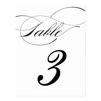 Elegant Script Table Number Postcard - Black