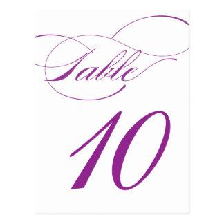 Elegant Script Table Number Postcard | Purple