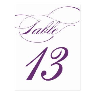 Elegant Script Table Number Postcard | Purple 520C