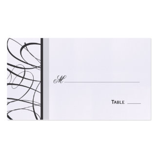 Elegant Script Table Seating Place Card - Black Business Card Template
