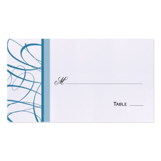 Elegant Script Table Seating Place Card - Blue Business Cards