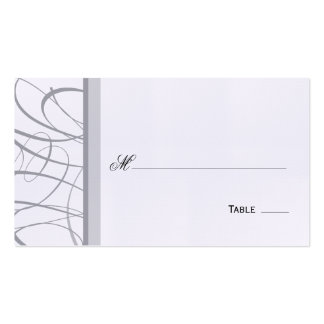 Elegant Script Table Seating Place Card - Gray Business Card Template