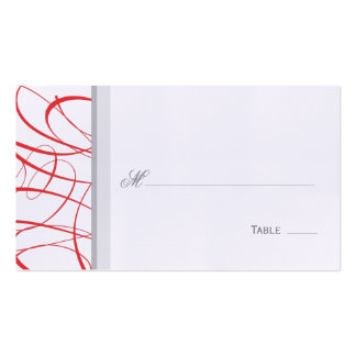 Elegant Script Table Seating Place Card - Red Business Card Templates