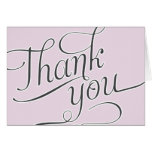 Elegant Script Thank You card in Pale Pink