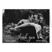 Elegant Script THANK YOU wedding note card   PHOTO