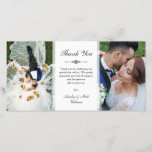 """Elegant Script Two Wedding Photos Thank You<br><div class=""""desc"""">Photo card personalized with two of your own wedding photos. Thank you written in an elegant charcoal script above a personal message to your wedding guests. Add your names too!</div>"""