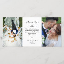 Elegant Script Two Wedding Photos Thank You