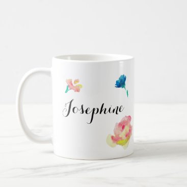Beach Themed Elegant Script type, boho waterpaint flowers Coffee Mug