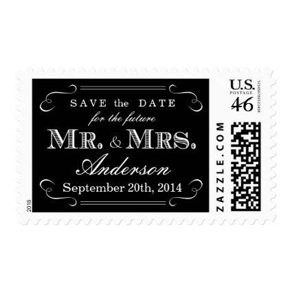 Elegant Script Typography Black White Wedding Stamps