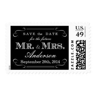 Elegant Script Typography Black White Wedding Postage Stamp