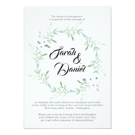 Elegant Script Watercolor Wreath Wedding Invite