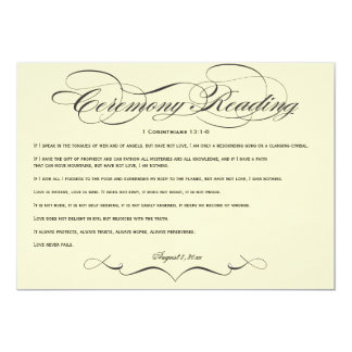 Elegant Script  Wedding Ceremony Reading Card