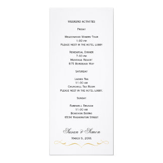 Elegant Script Wedding Information Card - Gold