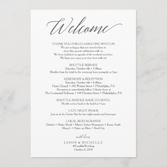 Elegant Script Wedding Itinerary - Wedding Welcome Program