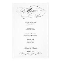 Elegant Script  Wedding Menu - Black