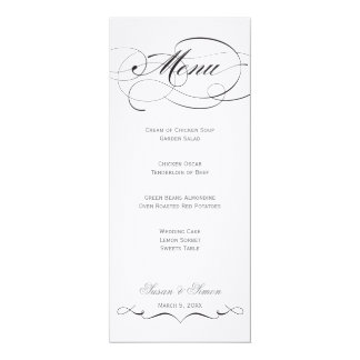 Elegant Script  Wedding Menu - Black 4x9.25 Paper Invitation Card