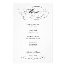 Elegant Script  Wedding Menu - Black Custom Stationery
