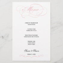 Elegant Script  Wedding Menu - Blush