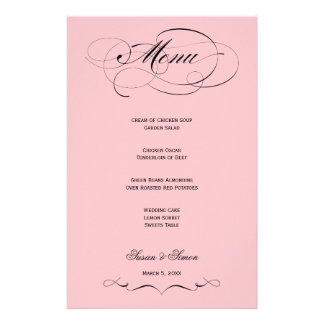Elegant Script  Wedding Menu - Blush Pink
