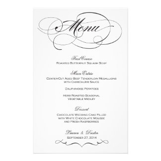 Elegant Script  Wedding Menu - Custom