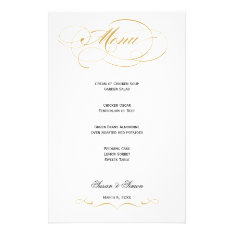 Elegant Script  Wedding Menu - Gold at Zazzle
