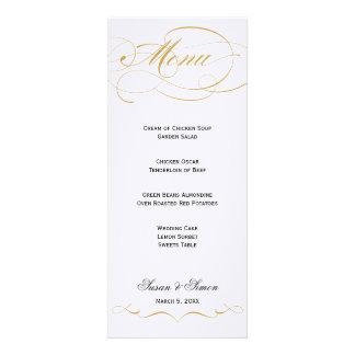 Elegant Script Wedding Menu - Gold Announcement