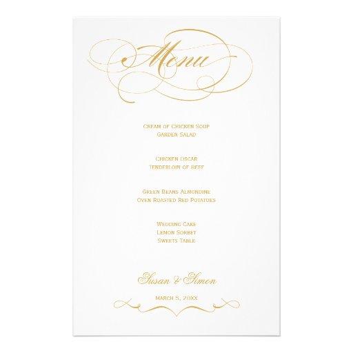 Elegant Script  Wedding Menu - Gold Stationery Paper