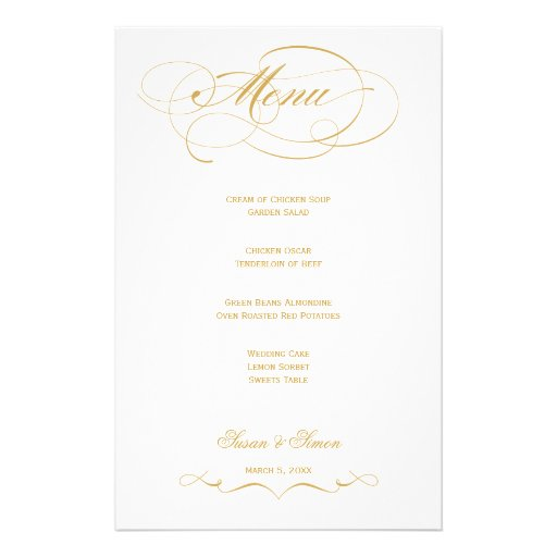 Elegant Script  Wedding Menu - Gold Customized Stationery