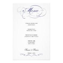 Elegant Script  Wedding Menu - Navy Blue