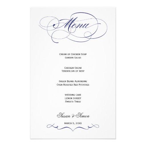 Elegant Script  Wedding Menu - Navy Blue Custom Stationery