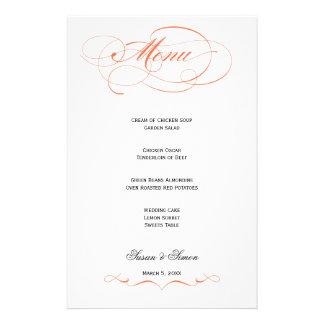 Elegant Script  Wedding Menu - Orange Customized Stationery
