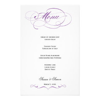 Elegant Script  Wedding Menu - Purple