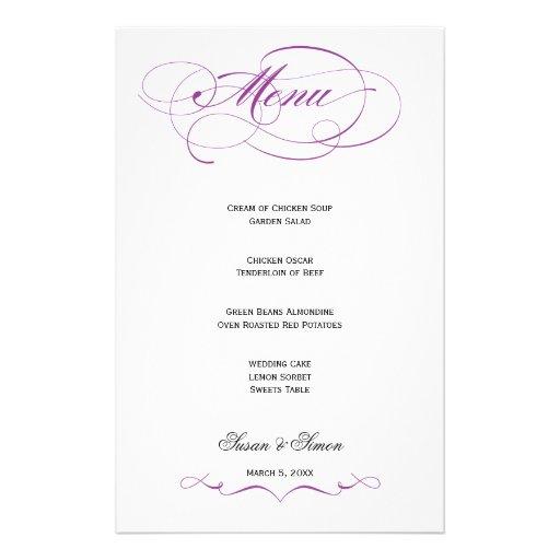 Elegant Script  Wedding Menu - Purple Custom Stationery