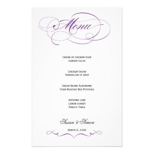 Elegant Script  Wedding Menu - Purple Customized Stationery