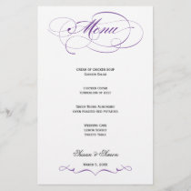 Elegant Script  Wedding Menu - Royal Purple