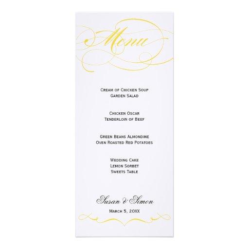 Elegant Script  Wedding Menu - Yellow Announcements