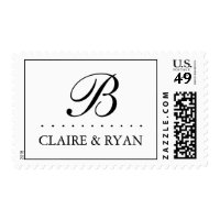 Elegant Script Wedding Monogram in Your Colors Postage