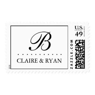 Elegant Script Wedding Monogram in Your Colors Postage