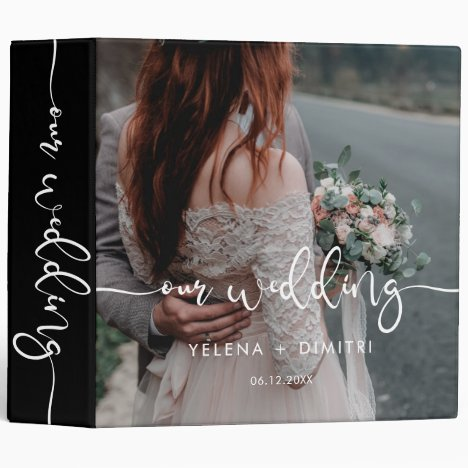 Elegant script wedding photo album binder