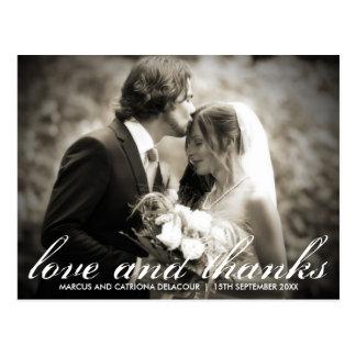 Elegant Script Wedding Photo Thank You Postcard